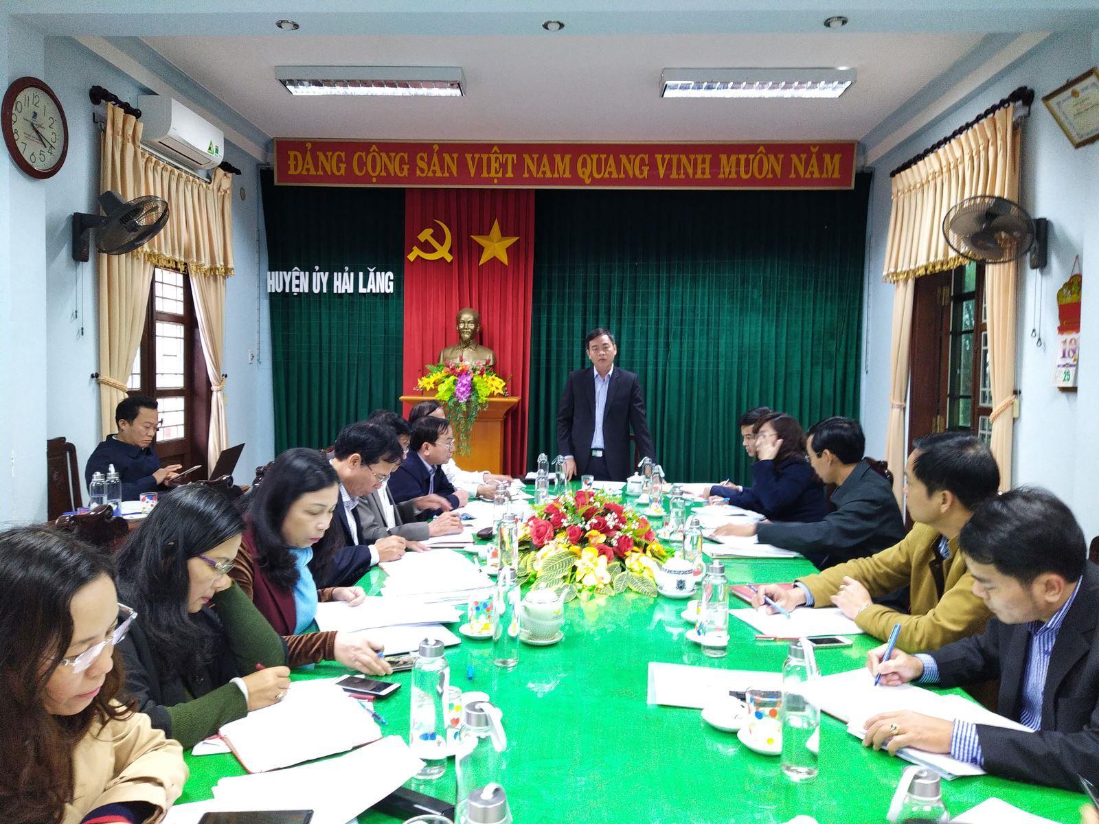 Đoàn công tác của Thường trực Tỉnh ủy làm việc với Huyện ủy Hải Lăng