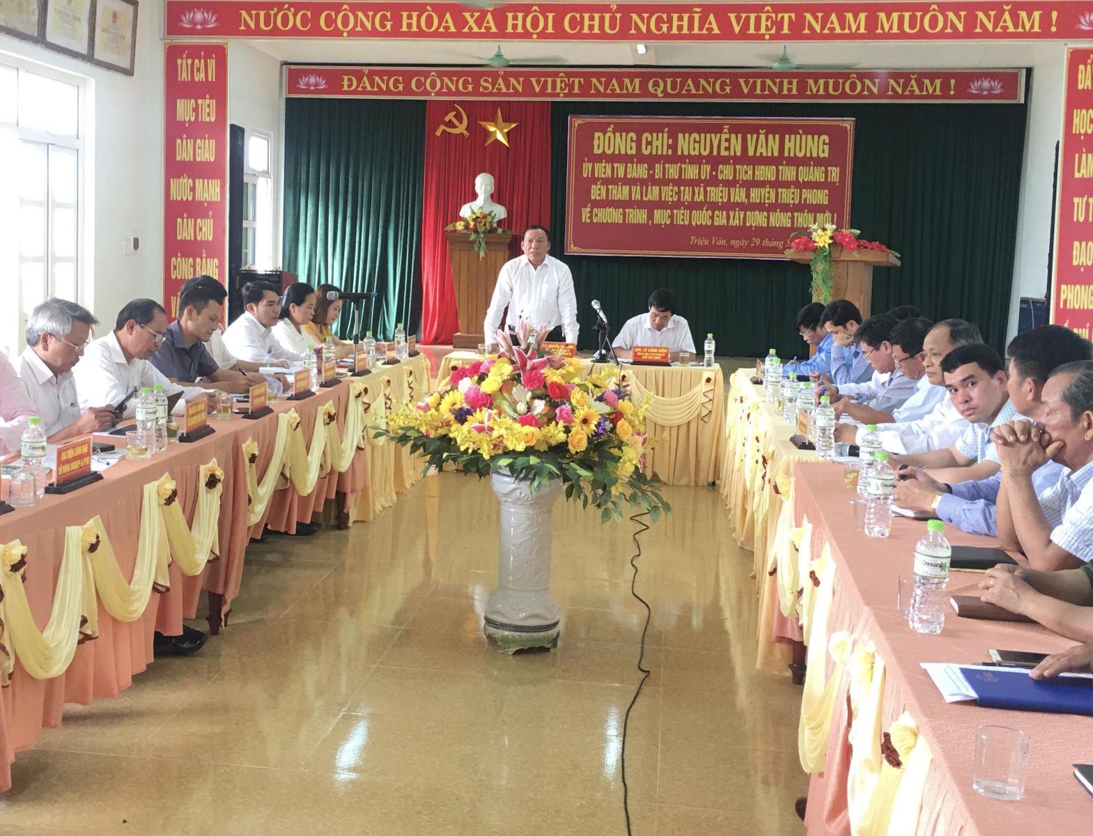 Thường trực Tỉnh ủy làm việc với xã Triệu Vân về Chương trình mục tiêu quốc gia xây dựng nông thôn mới