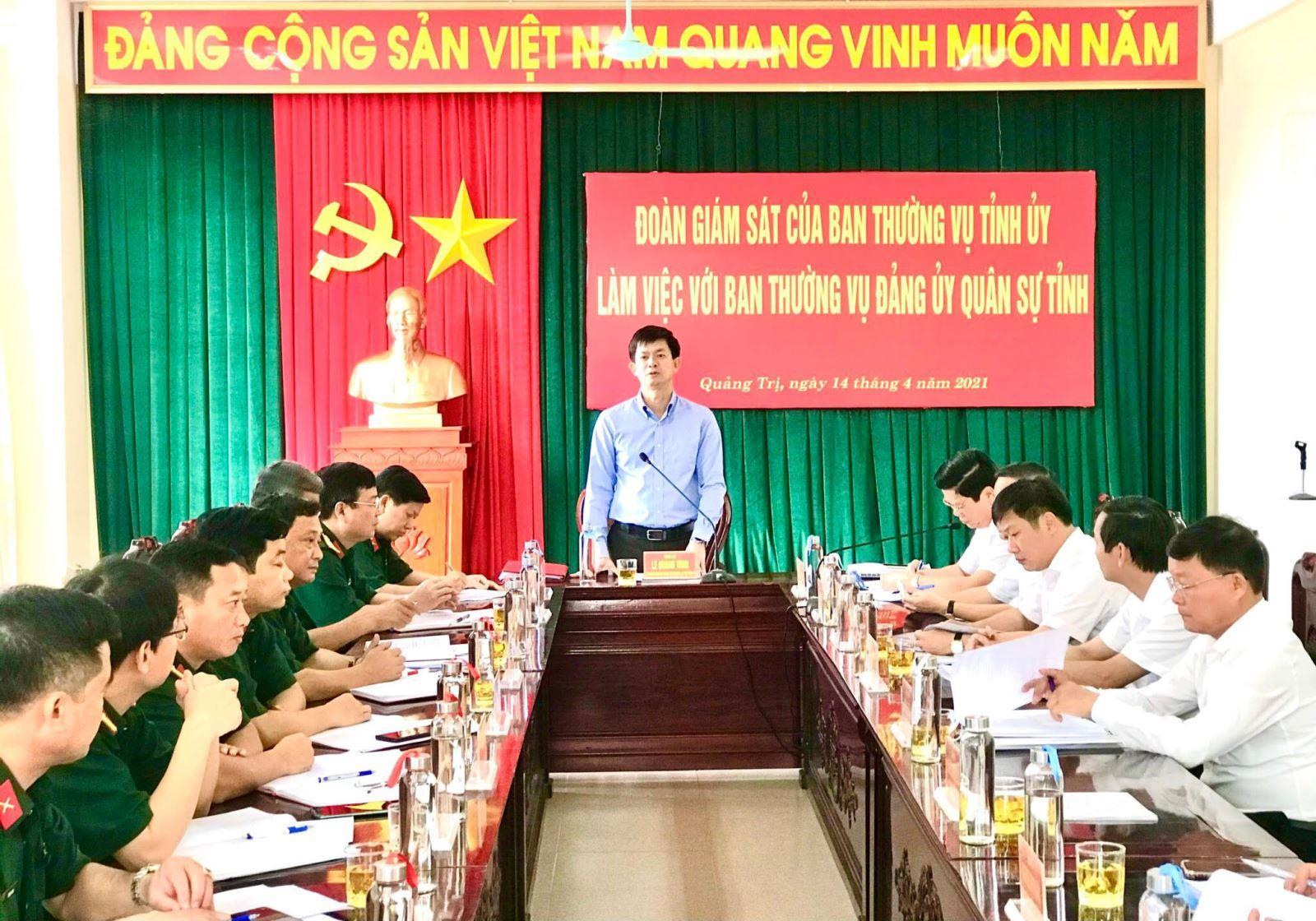 Đoàn giám sát của BTV Tỉnh ủy làm việc với BTV Đảng ủy Quân sự tỉnh và BTV Huyện ủy Gio Linh và  Đakrông